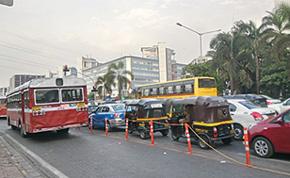 Experimental Kerb Side  Bus Lane in Mumbai's BK