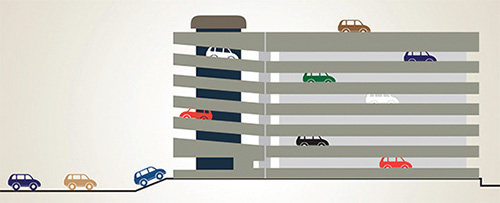 Multi-level-car-parking-facility-with-roof-top-parking